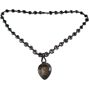 17th Century Stuart Crystal Heart Pendant on Antique French Silver and Paste Chain