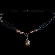 Art Deco Maison Gripoix Triple Strand Green Glass Necklace