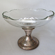 Revere Silversmiths Glass Compote with Sterling Silver Base