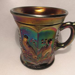 Northwood Singing Bird Amethyst Carnival Glass Mug