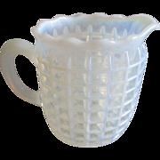 Beatty White Opalescent Honeycomb/Waffle Creamer