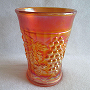 Northwood Marigold Carnival Glass Grape and Arbor Tumbler