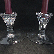 Heisey Sunflower Candlestick Set