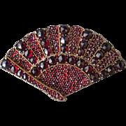 Victorian Bohemian Garnet Fan Brooch *January Birthstone*
