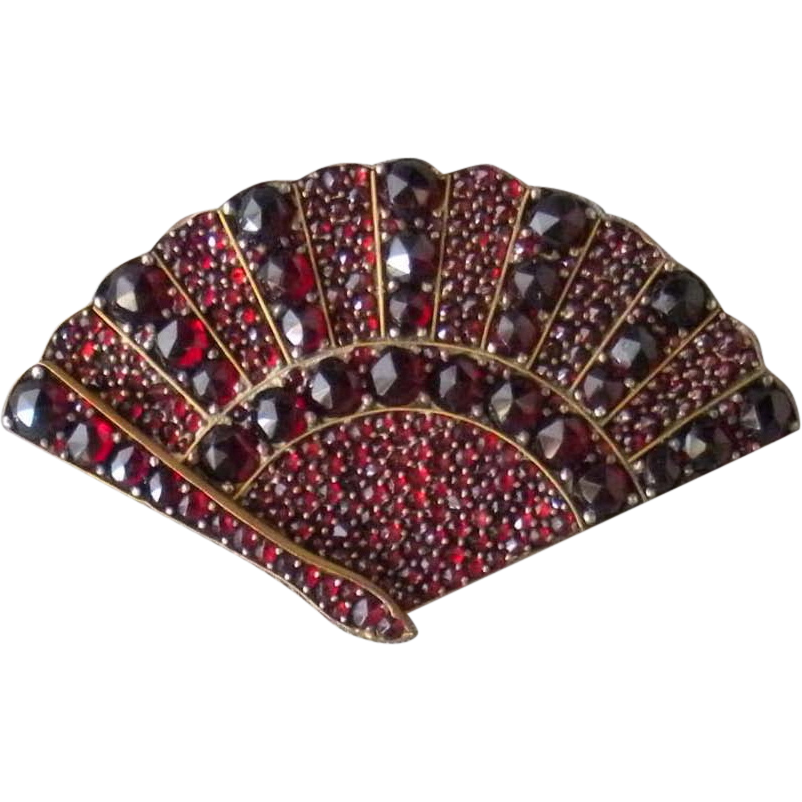 Victorian Bohemian Garnet Fan Brooch *January Birthstone*
