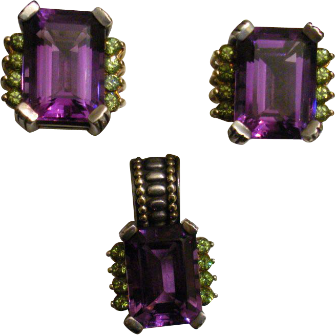 Stunning Lagos Amethyst Earrings & Pendant 18K and Sterling **February Birthstone**