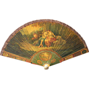 Antique Vernis Martin Lacquer Hand Painted Brise Fan Diana the Huntress Artist Signed
