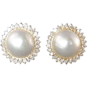 Gorgeous Vintage Mabe Pearl and Diamond Earrings Pierced