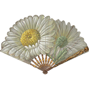 Antique French Art Nouveau Daisy Fan Eventail Signed Tutin C.1900-1910 Original FAUCON PARIS Box
