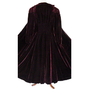 "Vintage 1930-1940 Stunning Velvet Opera Coat with Full 110"" Hem Line Sweep"