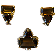 Lagos Caviar Smokey Quartz & Garnet Pendant Enhancer and Earrings