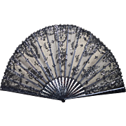 Antique Victorian Black Tulle and Lace Fan c.1880