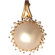 Beautiful Vintage 14K Yellow Gold Mobe Pearl and Diamond Pendant