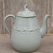 English Relief Molded Teapot, Widow Finial