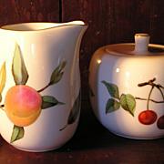 "Royal Worcester ""Evesham"" Sugar Bowl and Creamer"