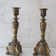 Pair of 19th Century Gothic Revival Brass Candlesticks