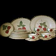 "Group of Blue Ridge Dinnerware, ""Wild Strawberry"", 27 pieces"