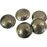 Genuine Indian Head or Buffalo Nickel Buttons
