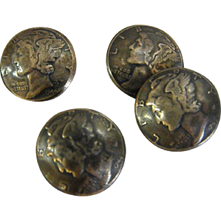 Button Set  Made from Winged Liberty Head Dimes