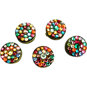 Festive Vintage Rhinestone Button Covers Brass Hinged