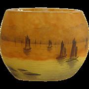 Signed Daum Nancy Cameo Miniature Sailboat Vase