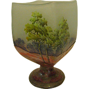 Unusual Daum Nancy Rectangular Footed Summer Vase or Goblet