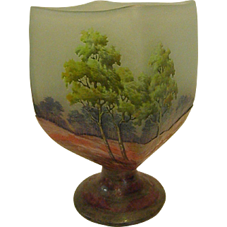 Unusual Daum Nancy Rectangular Footed Summer Vase or Goblet