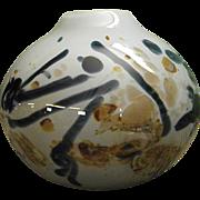 Signed 1970s Richard Ritter Studio Art Glass Murrini Vase