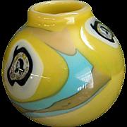 Hold for Warren Signed 1980s Richard Ritter Art Glass Face Vase