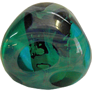 Signed Paul Seide Art Glass Free form Paperweight Milropa Studio Dated 1975