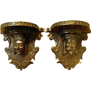 Pair of Antique Carved Shelf Brackets King and Queen