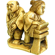 Exquisitely Carved Bone Vintage Netsuke Signed