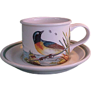 Rare Portmeirion Birds of Britain Drum Flat Cup and Saucer