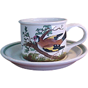 Rare Portmeirion Birds of Britain Drum Flat Cup and Saucer - Red Tag Sale Item