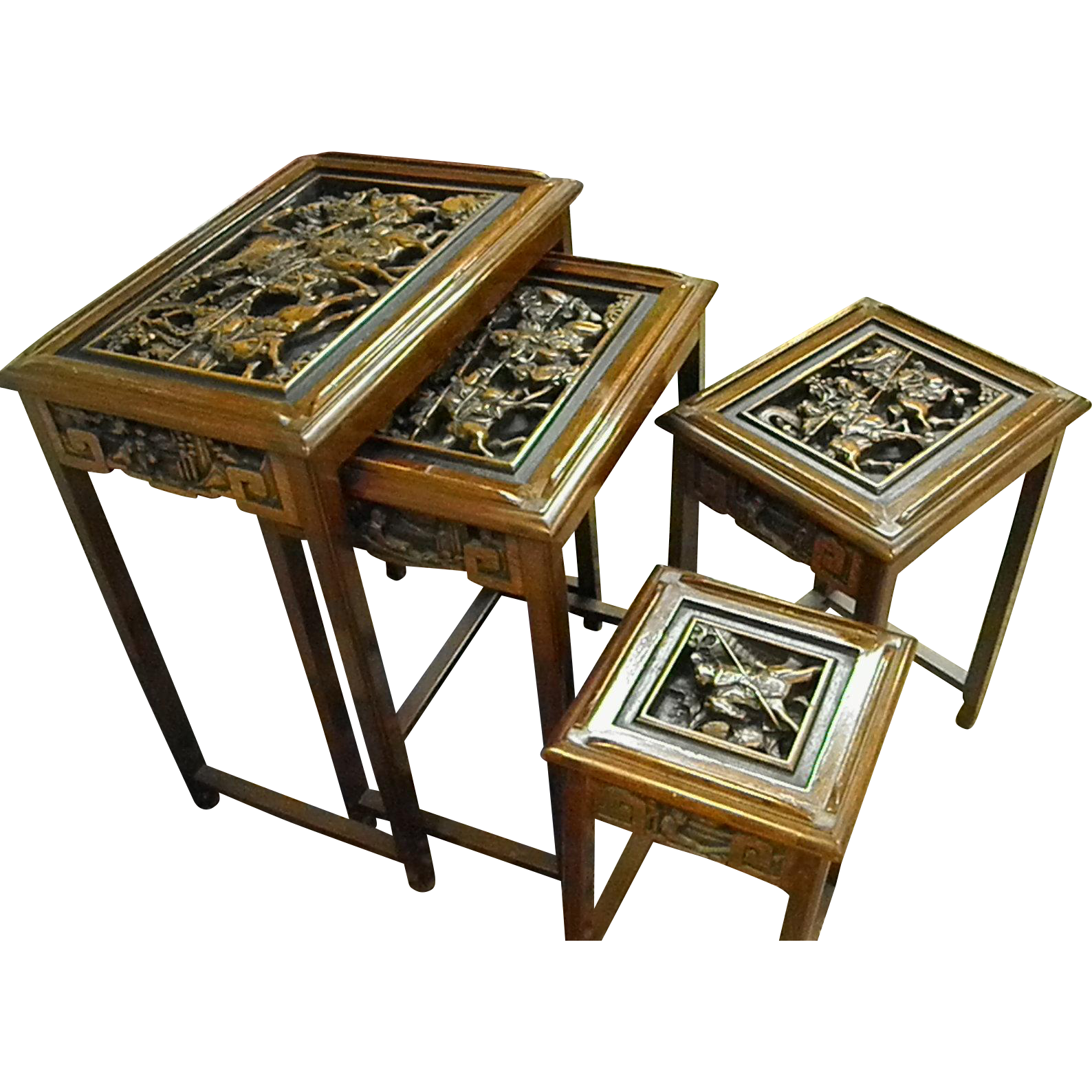 Heavily Carved Wood Asian Nesting Tables Bluebonnet Hill Estates Antiques Ruby Lane