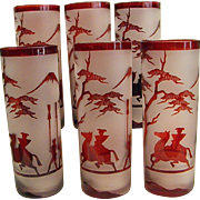 Beautiful Cameo Style Ruby Frosted Tumblers/Highballs