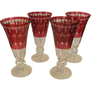 Set of Four Cut Crystal Flash Cranberry Iced Tea Stems