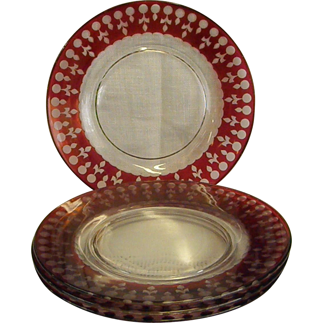 Set Of Four Cut Crystal Flash Cranberry 7 190 Plates From