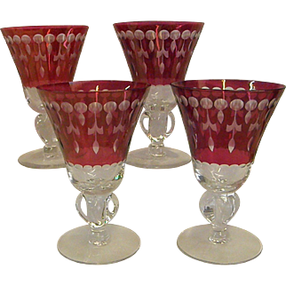 Set of Four Cut Crystal Flash Cranberry Wine/Water Stems