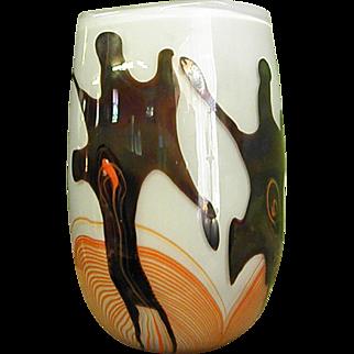 Signed Karlin Rushbrooke Studio Art Glass Vase Dated 1977