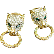 Sparkling Rhinestone Leopard Doorknocker Earrings by Nina Ricci