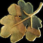 BSK Matte Enameled Goldtone Leaf Brooch