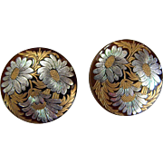 Great Celluloid Clip-on Earrings with Gold and Silver Flowers