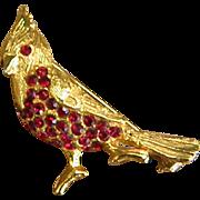 Vintage Doddz Cardinal Brooch with Red Crystals