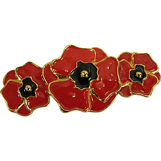 Classic Escada Red Poppy Pin/Brooch