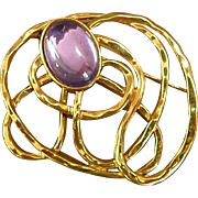 Lovely Vintage Gold-tone Brooch with Faux Amethyst