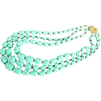 Vintage Turquoise Glass Bead Necklace Triple Strand