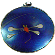 Vintage Lundberg Studio Art Glass Dragonfly Pendant