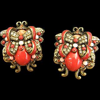 Joan Rivers Crystal and Enamel Fanciful Butterfly Clip-On Earrings