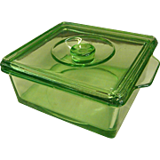 Hazel Atlas Green Depression Glass Refrigerator Jar